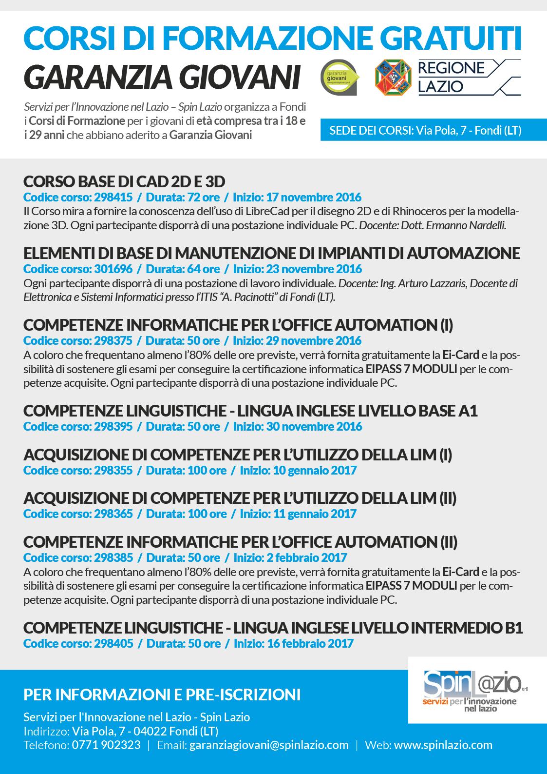 Spin Lazio - Corsi Garanzia Giovani 2016 - locandina web